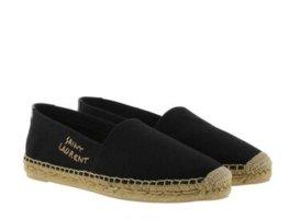 Saint Laurent Espadrille Sandals black cotton