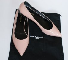 SAINT LAURENT ● Luxus Ballerinas Glossy Leder Flats in Nude Rosé