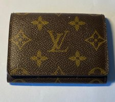 Louis Vuitton Tarjetero marrón oscuro-color oro