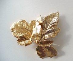 %%% SALE %%% Vintage Blatt Leaf Broschen vergoldet
