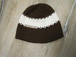 Salomon Bonnet en crochet brun-blanc coton