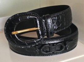 * SALVATORE FERRAGAMO *  GÜRTEL LEDER schwarz Kroko SCHLIESSE LEDER gold Gr 85  / 3 cm