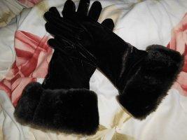 Samt handschuhe mit Fellkragen Abendgarderobe
