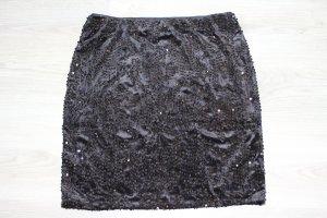 Samt Rock mit Pailletten Edel schwarz XL Taifun