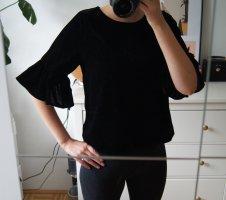 SAMT / T-Shirt / schwarz / Trompetenärmel / schick