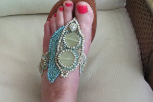 Sandale aus NEW Mexico Leder mit echten Perlen (neu)