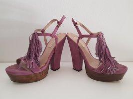 Sandale mit Fransen, High Heel von Pura Lopez