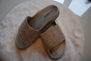 Sandale, Pantolette, Badeschuhe, Badeslipper silber, Glitzer