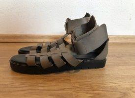 Sixtyseven Sandalo romano nero-argento Pelle