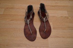 dq Sandalo toe-post argento Pelle