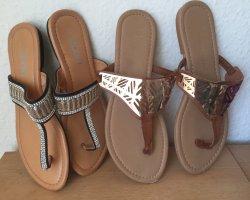 Flip flop sandalen zwart-goud