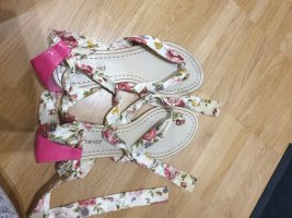 High-Heeled Toe-Post Sandals multicolored