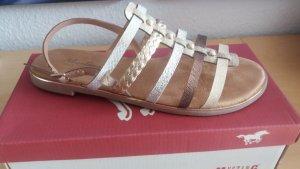 Sandales à lanière beige-chameau tissu mixte