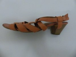 Sandales à talons hauts et lanière abricot-saumon cuir