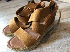 5th Avenue Platform Sandals cream-brown