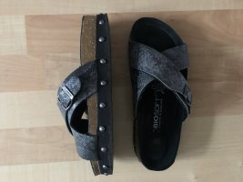 bio soft Clog Sandals black-silver-colored