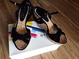 Office London Sandalias tipo cuña negro-marrón claro