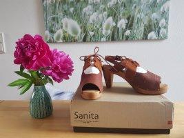 Sanita Sandalias de tacón con plataforma marrón-coñac