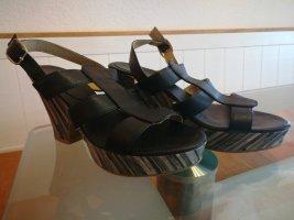 Sandalen mit Absatz & Plateau, schwarz