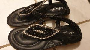 Sandalen mit Perlen Gr 38 schwarz