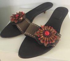 Sandalen mit Pfennigabsatz, Leder, Größe 38,5
