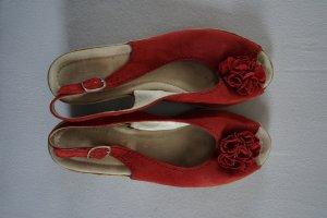 Sandalen Peep Toes Keilabsatz rot