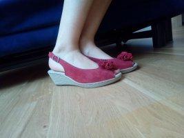 Sandalen Peep Toes Keolabsatz rot