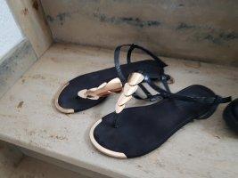 Sandalen schwarz gold 36