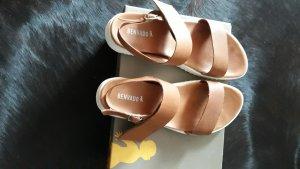 Sandales à lanière cognac cuir