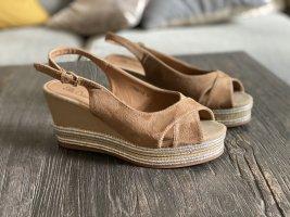 Sandalen wedge Absatz natürlich elegant mit Glamoursohle