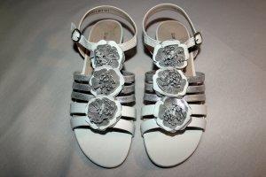 Sandalen weiß/silberfarben, Gr.: 39