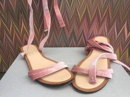 Sandalen zum binden Waden rosa Samt Gr. 38 von Pull and Bear