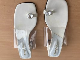 Beverly Feldman Strapped High-Heeled Sandals white leather