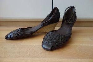 Sandalette mit Keilabsatz - braunes Leder - Gr. 39
