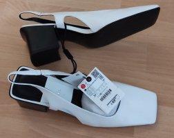Zara Sandalias de tacón de tiras blanco-negro