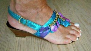 Sandalias de tacón con talón descubierto turquesa-violeta Cuero