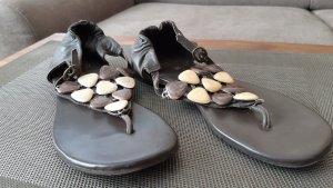 Sandalo infradito con tacco alto marrone-nero-bianco sporco