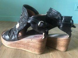 A.S.98 Sandalo alto con plateau nero Pelle