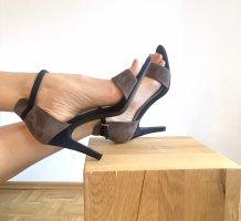 Tacones de tiras negro-marrón grisáceo