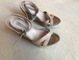 Jette Joop Wedge Sandals beige-turquoise leather