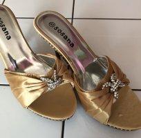 0039 Italy Sandales à talon haut doré
