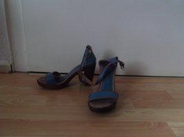 Sandaletten, Gr. 39 blau/braun