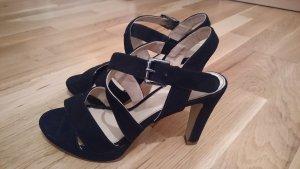 Sandaletten mit Absatz aus Rauleder / Veloursleder