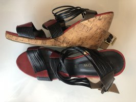 You!Know Strapped High-Heeled Sandals black-dark red