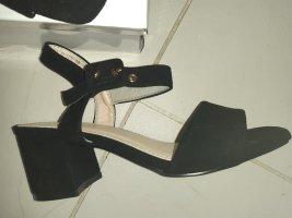 Sandaletten Sandalen Pumps Blockabsatz High Heels wie faux velours - Gr.  36