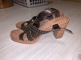 DKNY Sandalen met bandjes en hoge hakken donkerbruin-lichtbruin Leer