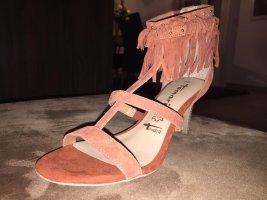Tamaris Strapped High-Heeled Sandals cognac-coloured-brown red leather