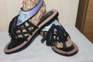 Bronx Sandalo infradito con tacco alto nero Pelle