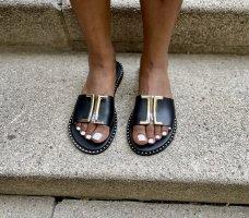 Comfortabele sandalen zwart-wit Leer