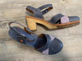 Art Sandales à talons hauts et plateforme bleu-violet cuir